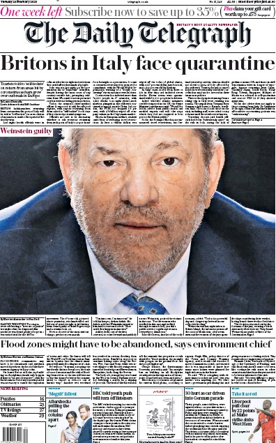 The Daily Telegraph Newspaper Front Page (UK) for 25 February 2020