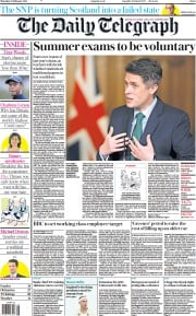 The Daily Telegraph front page for 25 February 2021