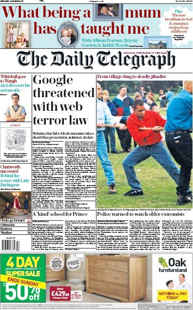 The Daily Telegraph Newspaper Front Page (UK) for 25 March 2017