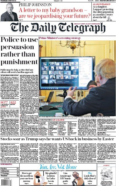 The Daily Telegraph Newspaper Front Page (UK) for 25 March 2020
