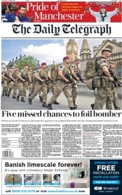 The Daily Telegraph (UK) Newspaper Front Page for 25 May 2017