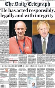 The Daily Telegraph front page for 25 May 2020