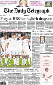 The Daily Telegraph Newspaper Front Page (UK) for 25 June 2012