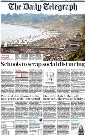 The Daily Telegraph front page for 25 June 2020