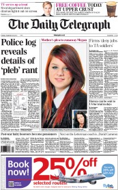 The Daily Telegraph Newspaper Front Page (UK) for 25 September 2012