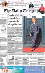 The Daily Telegraph (UK) Newspaper Front Page for 25 September 2018