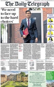 The Daily Telegraph (UK) Newspaper Front Page for 25 September 2020