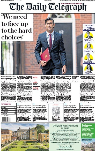 The Daily Telegraph Newspaper Front Page (UK) for 25 September 2020