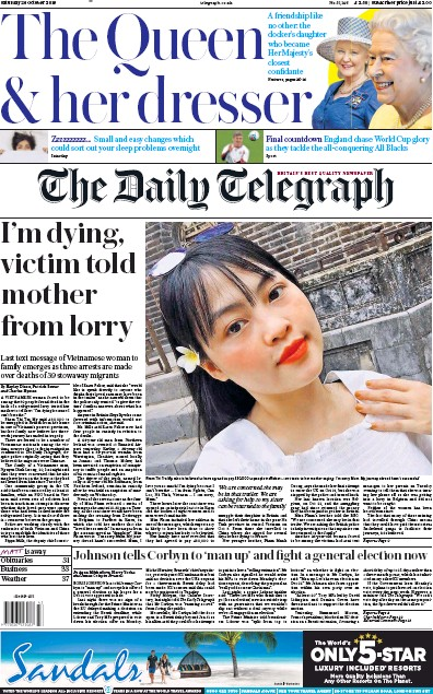 The Daily Telegraph Newspaper Front Page (UK) for 26 October 2019