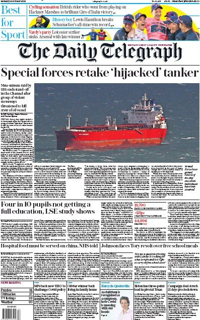 The Daily Telegraph Newspaper Front Page (UK) for 26 October 2020