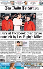 The Daily Telegraph (UK) Newspaper Front Page for 26 November 2014