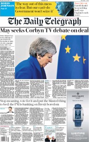 The Daily Telegraph (UK) Newspaper Front Page for 26 November 2018