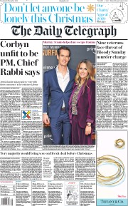 The Daily Telegraph (UK) Newspaper Front Page for 26 November 2019