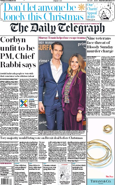 The Daily Telegraph Newspaper Front Page (UK) for 26 November 2019