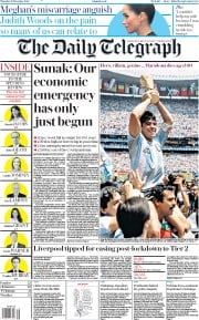 The Daily Telegraph front page for 26 November 2020