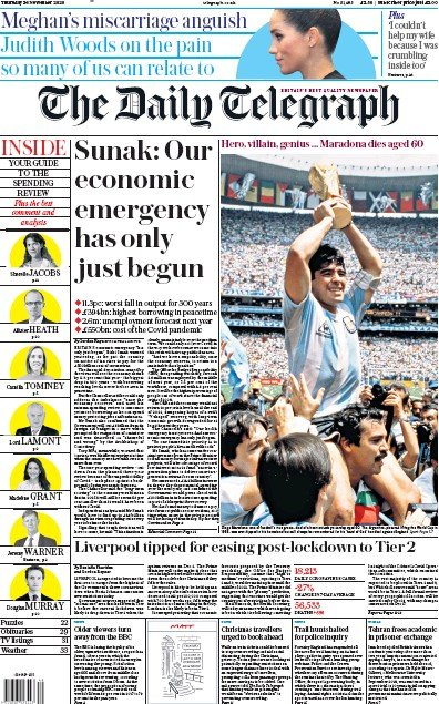 The Daily Telegraph Newspaper Front Page (UK) for 26 November 2020