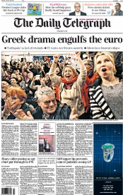 The Daily Telegraph (UK) Newspaper Front Page for 26 January 2015
