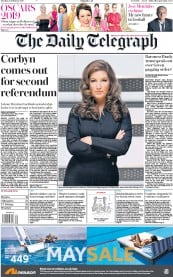 The Daily Telegraph () Newspaper Front Page for 26 February 2019