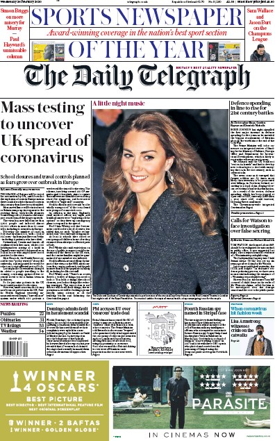 The Daily Telegraph Newspaper Front Page (UK) for 26 February 2020