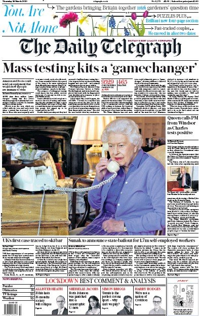 The Daily Telegraph Newspaper Front Page (UK) for 26 March 2020
