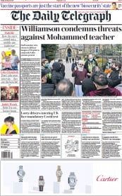 The Daily Telegraph front page for 26 March 2021