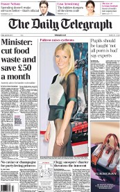The Daily Telegraph () Newspaper Front Page for 26 April 2013