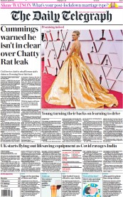 The Daily Telegraph front page for 26 April 2021