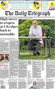 The Daily Telegraph front page for 26 May 2020