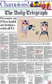 The Daily Telegraph front page for 26 June 2020