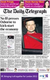 The Daily Telegraph Newspaper Front Page (UK) for 26 July 2011