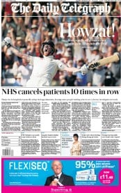The Daily Telegraph () Newspaper Front Page for 26 August 2019