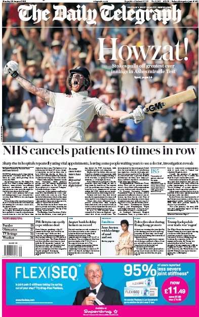 The Daily Telegraph Newspaper Front Page (UK) for 26 August 2019