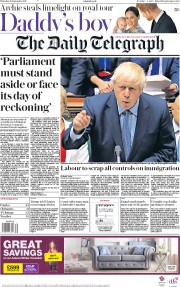 The Daily Telegraph (UK) Newspaper Front Page for 26 September 2019