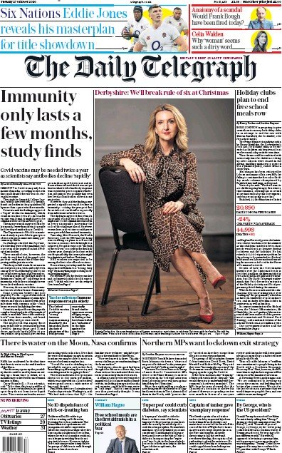 The Daily Telegraph Newspaper Front Page (UK) for 27 October 2020
