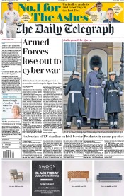 The Daily Telegraph (UK) Newspaper Front Page for 27 November 2017