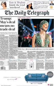 The Daily Telegraph (UK) Newspaper Front Page for 27 November 2018