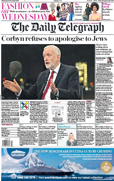 The Daily Telegraph Newspaper Front Page (UK) for 27 November 2019