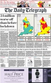 The Daily Telegraph front page for 27 November 2020