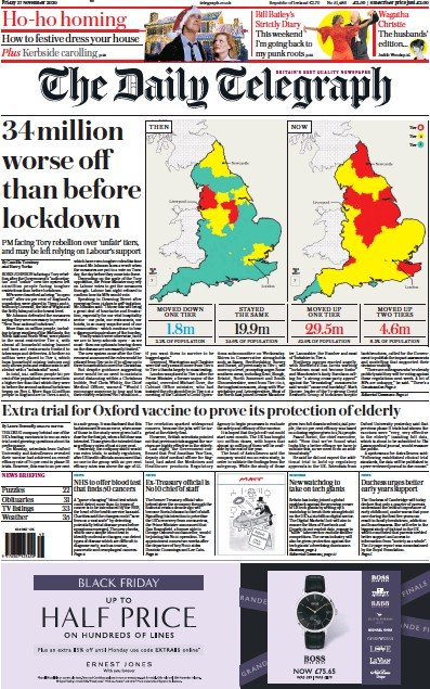 The Daily Telegraph Newspaper Front Page (UK) for 27 November 2020