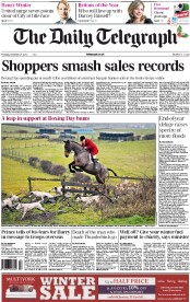 The Daily Telegraph Newspaper Front Page (UK) for 27 December 2012