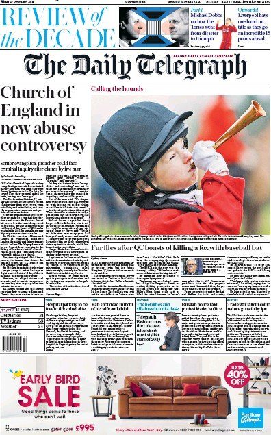 The Daily Telegraph Newspaper Front Page (UK) for 27 December 2019