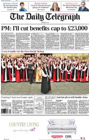 The Daily Telegraph (UK) Newspaper Front Page for 27 January 2015