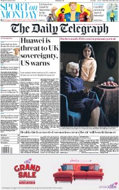 The Daily Telegraph (UK) Newspaper Front Page for 27 January 2020