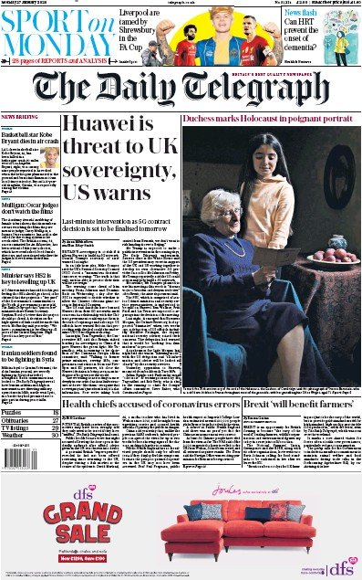 The Daily Telegraph Newspaper Front Page (UK) for 27 January 2020