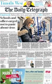 The Daily Telegraph (UK) Newspaper Front Page for 27 February 2020
