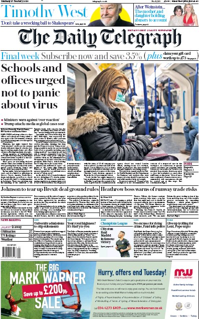 The Daily Telegraph Newspaper Front Page (UK) for 27 February 2020