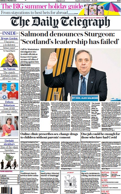 The Daily Telegraph Newspaper Front Page (UK) for 27 February 2021
