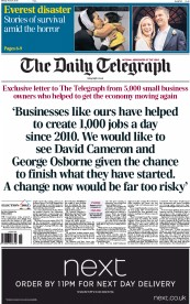 The Daily Telegraph (UK) Newspaper Front Page for 27 April 2015