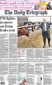 The Daily Telegraph front page for 27 April 2021