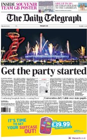 The Daily Telegraph Newspaper Front Page (UK) for 27 July 2012